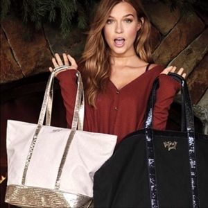 Victoria's Secret gold shimmer and sequin zip tote